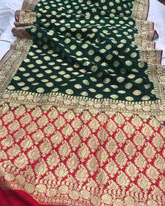 BOTTLE GREEN BANARASI HANDLOOM SATIN SILK SAREE CONTRAST RED BORDER & BLOUSE