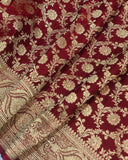 MAROON BANARASI HANDLOOM SATIN SILK SAREE ALLOVER JAAL WORK