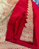 OFF WHITE BANARASI HANDLOOM SATIN SILK SAREE CONTRAST RED BORDER & BLOUSE