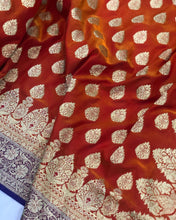 Load image into Gallery viewer, ORANGE BANARASI HANDLOOM SATIN SILK SAREE CONTRAST BLUE BORDER & BLOUSE