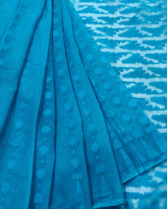 SKY BLUE HANDLOOM COTTON JAMDANI SAREE