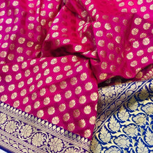 Load image into Gallery viewer, PINK BANARASI HANDLOOM COTTON SILK SAREE