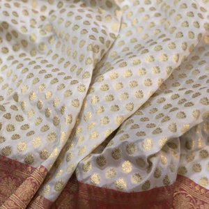 WHITE BANARASI HANDLOOM COTTON SILK SAREE