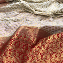 Load image into Gallery viewer, WHITE BANARASI HANDLOOM COTTON SILK SAREE