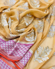 Load image into Gallery viewer, YELLOW BANARASI HANDLOOM PURE KHADDI GEORGETTE SILK SAREE