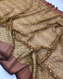 COFFEE BROWN BANARASI HANDLOOM PURE KHADDI GEORGETTE SILK SAREE
