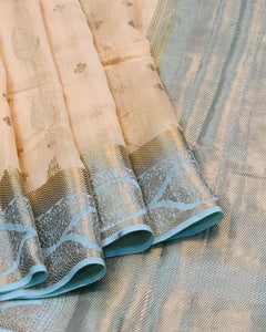 CREAM BANARASI HANDLOOM PURE COTTON SAREE