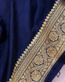 NAVY BLUE BANARASI HANDLOOM SATIN TANCHUI SILK SAREE (ALLOVER BOOTA WORK)