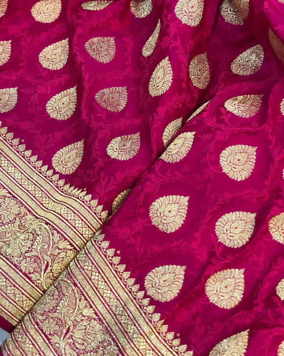 PINK BANARASI HANDLOOM SATIN TANCHUI SILK SAREE (ALLOVER BOOTA WORK)