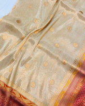 Load image into Gallery viewer, GOLDEN BANARASI HANDLOOM TISSUE KATAN SILK SAREE
