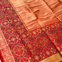 Load image into Gallery viewer, PEACH BANARASI HANDLOOM TISSUE KATAN SILK SAREE