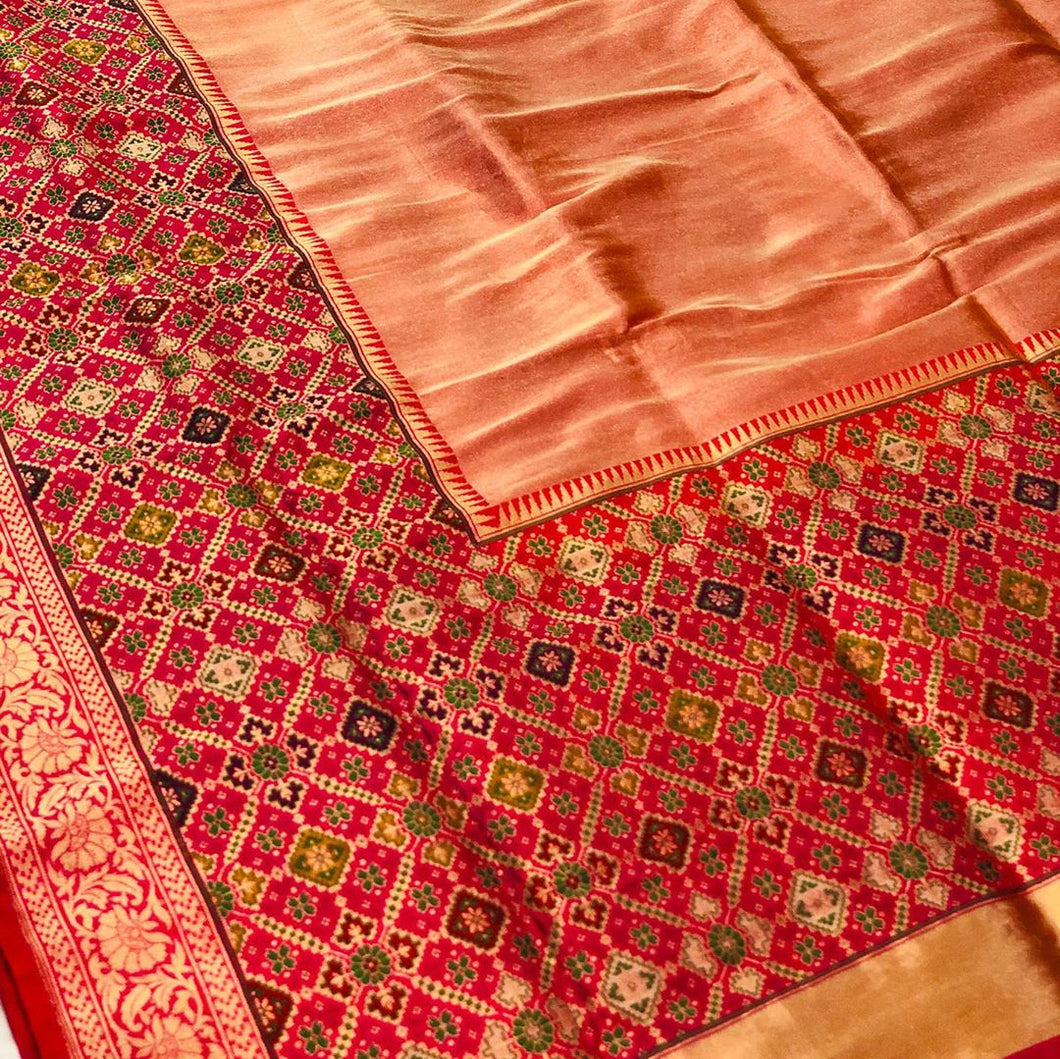 PEACH BANARASI HANDLOOM TISSUE KATAN SILK SAREE