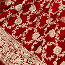 Load image into Gallery viewer, RED BANARASI HANDLOOM SATIN SILK SAREE(ALLOVER JAAL WORK)