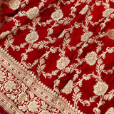 RED BANARASI HANDLOOM SATIN SILK SAREE(ALLOVER JAAL WORK)