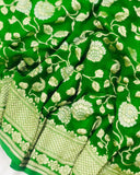 GREEN BANARASI HANDLOOM PURE KHADDI GEORGETTE SILK SAREE(SHIKARGAH COLLECTION)
