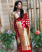 Load image into Gallery viewer, Red Satin Silk Anushka Buti Banarasi Handloom Saree