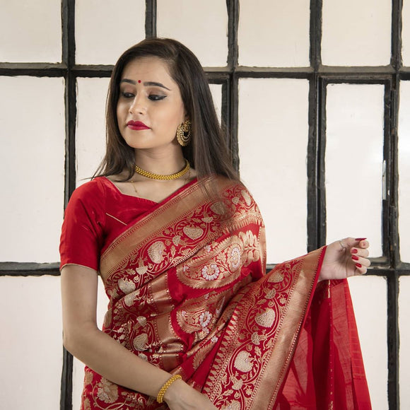 RED PURE BANARASI HANDLOOM KATAN SILK SAREE(ALL OVER JAAL WORK)
