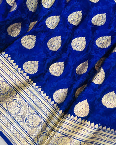 ROYAL BLUE BANARASI HANDLOOM SATIN TANCHUI SILK SAREE (ALLOVER BOOTA WORK)