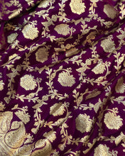 Load image into Gallery viewer, PURPLE BANARASI HANDLOOM SATIN SILK SAREE(ALLOVER JAAL WORK)