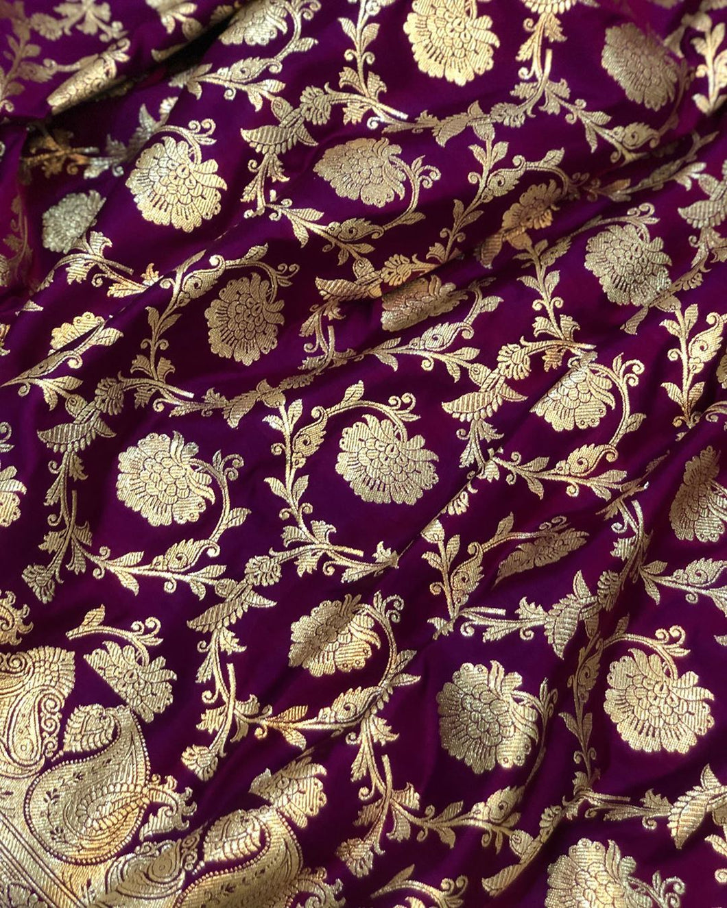 PURPLE BANARASI HANDLOOM SATIN SILK SAREE(ALLOVER JAAL WORK)