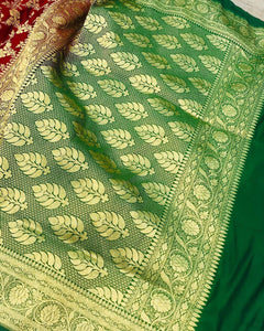 MAROON BANARASI HANDLOOM SATIN SILK SAREE CONTRAST GREEN BORDER ALLOVER JAAL WORK