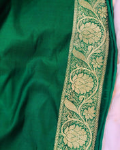 Load image into Gallery viewer, MAROON BANARASI HANDLOOM SATIN SILK SAREE CONTRAST GREEN BORDER ALLOVER JAAL WORK