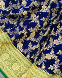 ROYAL BLUE BANARASI HANDLOOM SATIN SILK SAREE CONTRAST GREEN BORDER ALLOVER JAAL WORK