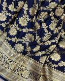 NAVY BLUE BANARASI HANDLOOM SATIN SILK SAREE(ALLOVER JAAL WORK)
