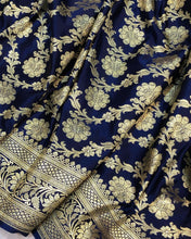 Load image into Gallery viewer, NAVY BLUE BANARASI HANDLOOM SATIN SILK SAREE(ALLOVER JAAL WORK)