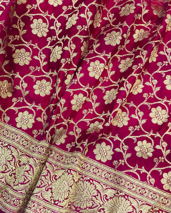 HOT PINK BANARASI HANDLOOM SATIN SILK SAREE(ALLOVER JAAL WORK)