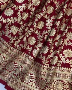 MAROON BANARASI HANDLOOM SATIN SILK SAREE(ALLOVER JAAL WORK)