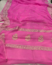 Load image into Gallery viewer, PINK BANARASI HANDLOOM PURE KHADDI CHIFFON GEORGETTE SILK SAREE
