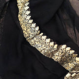 BLACK BANARASI HANDLOOM PURE KHADDI GEORGETTE SILK SAREE