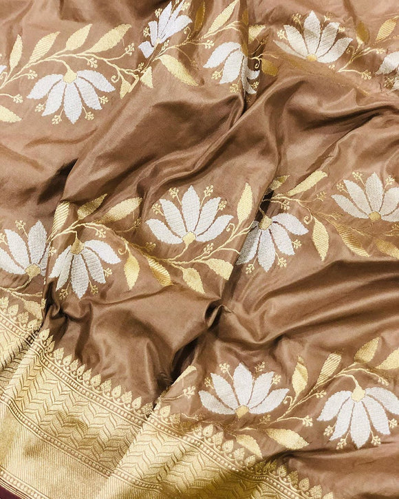 CAMEL BANARASI HANDLOOM KATAN SILK SAREE(ALL OVER JAAL WORK)