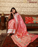 ROSE GOLD BANARASI HANDLOOM TISSUE KATAN SILK SAREE