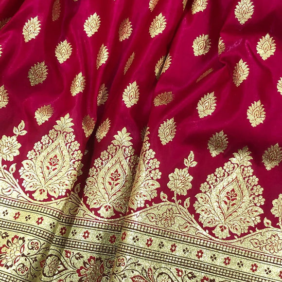 HOT PINK BANARASI HANDLOOM SATIN SILK SAREE (LEHENGA STYLE)