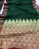 BOTTLE GREEN BANARASI HANDLOOM SOFT SILK SAREE