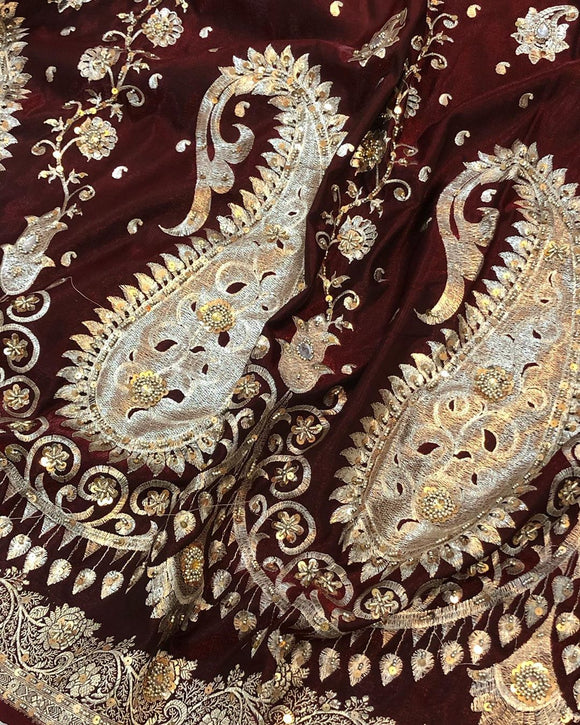 MAROON BANARASI HANDLOOM SILK SAREE WITH HAND ZARDOZI WORK