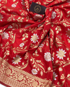 RED BANARASI HANDLOOM SOFT SILK SAREE WITH ALL OVER JAAL WORK