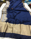 NAVY BLUE BANARASI HANDLOOM SOFT SILK SAREE WITH ALL OVER JAAL WORK