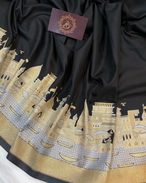 BLACK BANARASI HANDLOOM SOFT SILK SAREE WITH ALL OVER BANARAS GHAT WORK
