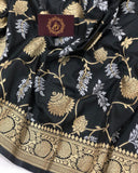 BLACK BANARASI HANDLOOM SOFT SILK SAREE WITH ALL OVER JAAL WORK
