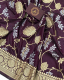 WINE BANARASI HANDLOOM SOFT SILK SAREE WITH ALL OVER JAAL WORK