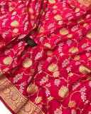 HOT PINK BANARASI HANDLOOM SOFT SILK SAREE WITH ALL OVER JAAL WORK