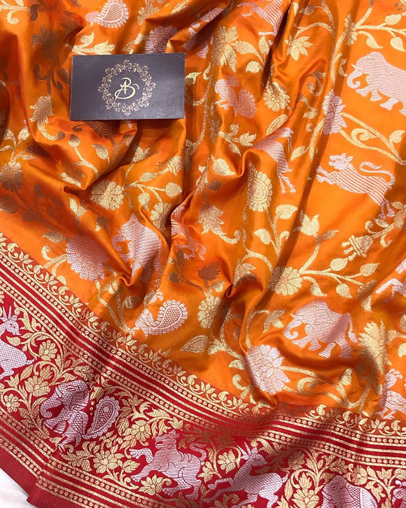ORANGE BANARASI HANDLOOM SOFT SILK SAREE WITH ALL OVER SHIKARGAH JAAL WORK