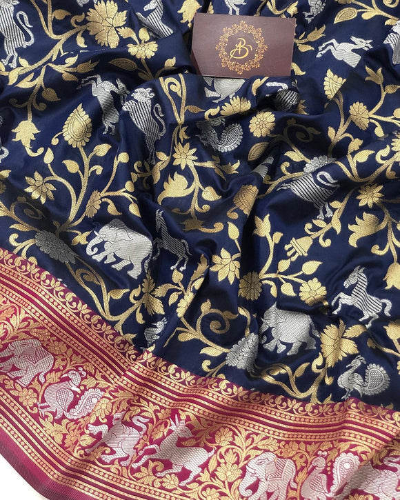 NAVY BLUE BANARASI HANDLOOM SOFT SILK SAREE WITH ALL OVER SHIKARGAH JAAL WORK