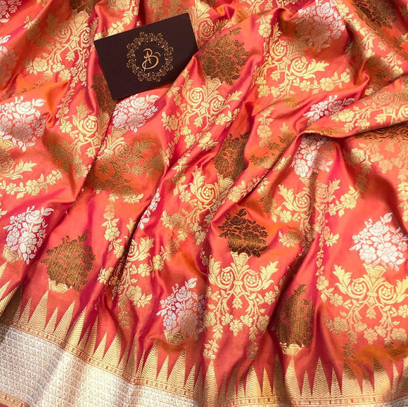 ORANGE BANARASI HANDLOOM SOFT SILK SAREE WITH ALL OVER JAAL WORK