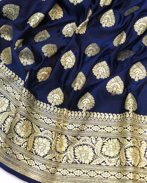 NAVY BLUE BANARASI HANDLOOM SATIN SILK SAREE