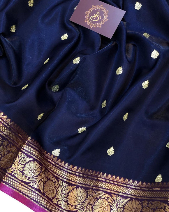 NAVY BLUE BANARASI HANDLOOM SOFT SILK SAREE
