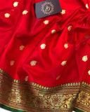 RED BANARASI HANDLOOM SOFT SILK SAREE